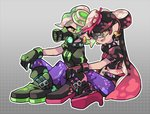 +_+ 2girls alternate_costume aori_(splatoon) commentary cousins domino_mask earrings fangs food food_on_head gas_mask glasses gloves high_heels hotaru_(splatoon) jewelry looking_at_viewer mask midriff mole mole_under_eye multiple_girls navel object_on_head octopus open_mouth pointy_ears purple_legwear short_hair sitting splatoon_(series) splatoon_2 squid sushi tattoo tentacle_hair transparent wong_ying_chee