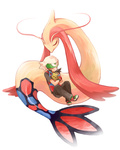 1boy closed_eyes creature feebas fingerless_gloves fish gloves hat holding milotic pants pokemon pokemon_(creature) pokemon_special ruby_(pokemon) short_sleeves sitting tail watari_(inga_ouhou)