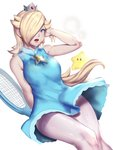 1girl arm_up bare_arms bare_shoulders blonde_hair blue_dress blue_eyes breasts chiko_(mario) crown dress earrings hair_over_one_eye heavy_breathing highres jewelry kumiko_shiba large_breasts lips long_hair mario_(series) mario_tennis mini_crown open_mouth pantyhose racket rosetta_(mario) simple_background sleeveless sleeveless_dress solo stained_clothes star star_earrings super_mario_bros. super_mario_galaxy sweat tennis_racket tired white_background white_legwear