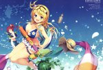 2girls :d absurdres ahoge aqua_eyes bag bare_shoulders bikini bikini_skirt blonde_hair blue_sky breasts character_name cleavage day dog_tags dual_wielding eyewear_on_head flip-flops flower food fruit grin hair_flower hair_ornament hair_rings hat hat_removed headwear_removed highres holding huge_filesize koto-channel large_breasts long_hair looking_at_viewer looking_back midriff mihama_kosumi multiple_girls one_side_up open_mouth outdoors parted_lips petals plumeria red_eyes red_hair rito_(koto_channel) sandals scan scrunchie seashell senji_(tegone_spike) shell shorts side_ponytail sky smile star star_print starry_background straw_hat sun_hat swimsuit thigh_strap virtual_youtuber water_gun watermelon