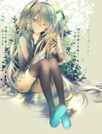 1girl ;| aqua_nails cacao_(chocotto) detached_sleeves expressionless fingernails full_body grey_background grey_hair grey_shirt hair_between_eyes hand_in_hair hatsune_miku legs_together long_hair looking_away nail_polish one_eye_closed shirt simple_background sitting solo thighhighs thighs twintails very_long_hair vocaloid
