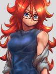 1girl android_21 black-framed_eyewear blue_eyes blue_shirt breasts brown_hair closed_mouth commentary_request curly_hair dragon_ball dragon_ball_fighterz expressionless glasses grey_background grey_jacket jacket long_hair looking_at_viewer medium_breasts off_shoulder shirt solo st62svnexilf2p9 upper_body very_long_hair