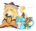 :3 animal animalization black_hat blue_fur butterfly_wings caramell0501 cat cat_focus closed_mouth clothed_animal eternity_larva full_body hat lead matara_okina multicolored multicolored_wings navel no_humans nyan red_eyes simple_background smile tabard touhou whiskers white_background wings yellow_eyes yellow_fur