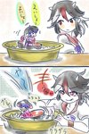 2girls :p boat bowl cink-knic hat highres horns kijin_seija minigirl multicolored_hair multiple_girls purple_hair red_eyes sukuna_shinmyoumaru tongue tongue_out touhou translated tub watercraft wristband