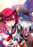 2girls blue_eyes blue_hair blush breasts food hat heart highres horns ishida_akira large_breasts long_hair looking_at_viewer maou_(maoyuu) maoyuu_maou_yuusha multiple_girls onna_mahoutsukai_(maoyuu) pocky pocky_kiss purple_eyes red_eyes red_hair school_uniform shared_food smile take_your_pick witch_hat
