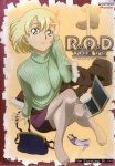 1girl adjusting_hair arm_support bag blonde_hair blue_eyes coat company_name computer copyright_name cover dvd_cover feet green_shirt green_sweater handbag high_heels ishihama_masashi laptop logo long_sleeves miniskirt official_art pantyhose purple_footwear purple_skirt r.o.d_the_tv read_or_die shirt shoe_removed shoes short_hair single_shoe sitting skirt smile solo sweater turtleneck wendy_earhart