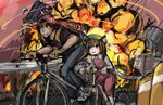 1boy 1girl :3 animal_ears backpack backwards_hat bag baseball_cap bicycle bike_horn bkub_(style) brown_hair cat_ears chen crossover explosion fingerless_gloves gloves golden_boy ground_vehicle hat honk_honk mob_cap ooe_kintarou panties_(pantsu-pirate) riding touhou