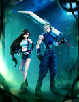 1boy 1girl bare_legs bare_shoulders black_hair blonde_hair breasts buster_sword cloud_strife crop_top elbow_gloves final_fantasy final_fantasy_vii gloves huge_weapon large_breasts long_hair looking_at_viewer low-tied_long_hair midriff miniskirt over_shoulder riikka_sofia_riekkinen skirt sleeveless smile spiked_hair suspender_skirt suspenders sword tank_top tifa_lockhart weapon weapon_over_shoulder