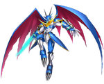 abs armor belt blue_armor bracelet digimon digimon_story:_cyber_sleuth dragon_wings energy_sword gauntlets horns jewelry monster no_humans official_art red_eyes shoulder_pads simple_background solo sword torn_wings ulforcevdramon very_long_fingernails weapon wings yasuda_suzuhito