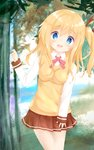 1girl :d bangs blonde_hair blue_eyes blurry blurry_background blush breasts brown_ribbon brown_skirt collared_shirt comic_girls day depth_of_field dress_shirt eyebrows_visible_through_hair forest hair_between_eyes hair_ribbon highres koizuka_koyume leaning_to_the_side long_hair long_sleeves looking_at_viewer medium_breasts nature one_side_up open_mouth outdoors pleated_skirt ribbon shiraki_shiori shirt skirt sleeves_past_wrists smile solo standing sweater_vest tree upper_teeth white_shirt
