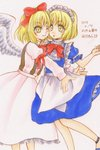 2girls :o ;) apron bangs bare_arms blonde_hair blue_dress blue_footwear bow bowtie character_name closed_mouth dated dress eyebrows eyebrows_visible_through_hair feathered_wings gengetsu hair_bow highres hug io_(maryann_blue) long_skirt long_sleeves maid_apron maid_headdress mugetsu multiple_girls one_eye_closed open_mouth pink_shirt pink_skirt puffy_long_sleeves puffy_short_sleeves puffy_sleeves red_bow red_neckwear shirt short_hair short_sleeves siblings sisters skirt skirt_set smile touhou touhou_(pc-98) traditional_media twitter_username waist_apron white_apron white_wings wings yellow_eyes