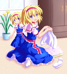 2girls :d alice_margatroid blonde_hair blue_eyes capelet dress frilled_dress frills hairband highres multiple_girls nanaoto_(lycia) open_mouth shirt short_hair sitting smile socks time_paradox touhou wariza younger
