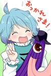 1girl ^_^ ahoge blue_hair blush closed_eyes commentary halftone halftone_background juliet_sleeves karakasa_obake long_sleeves open_mouth puffy_sleeves red_eyes short_hair smile solo tatara_kogasa tongue touhou translated umbrella v yuzuna99