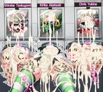 3girls after_rape after_sex akatsuki_kirika ass black_hair blonde_hair blush body_writing breasts bukkake censored character_name cleavage_cutout cum cum_in_pussy cum_on_ass cum_pool english_text engrish_text gangbang glory_wall group_sex identity_censor large_breasts lavender_hair leotard multiple_girls ninopal noise_(symphogear) overflow pink_legwear purple_hair ranguage rape senki_zesshou_symphogear striped striped_legwear tally thighhighs through_wall torn_clothes translation_request tsukuyomi_shirabe yukine_chris