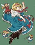1girl alice_margatroid arm_up bangs black_footwear blonde_hair blue_eyes boots bow brown_footwear brown_legwear capelet closed_mouth commentary_request cross-laced_footwear dress dual_wielding full_body hair_bow hairband highres holding holding_sword holding_weapon hourai_doll lace-up_boots lance long_hair long_sleeves looking_at_viewer mary_janes natsushiro polearm polka_dot polka_dot_background red_bow red_footwear shanghai_doll shoes short_hair short_sleeves socks solo sword touhou weapon white_legwear wings