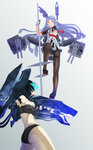 2girls aqua_eyes armpits ass bandeau bangs battle bikini black_bikini black_hair black_legwear blunt_bangs blush bodysuit breasts buttons cannon covered_nipples cowboy_shot dress eye_contact facing_away floating_hair fujimo_ruru full_body gloves glowing glowing_eyes grey_background hair_ribbon headgear highres holding kantai_collection knee_up light_trail long_hair looking_at_another looking_down looking_up machinery mecha_musume multiple_girls murakumo_(kantai_collection) necktie outstretched_hand pale_skin panties panties_under_pantyhose pantyhose pantyshot parted_lips pleated_dress polearm remodel_(kantai_collection) ri-class_heavy_cruiser ribbon sailor_dress shinkaisei-kan short_dress short_eyebrows short_hair short_sleeves showdown simple_background small_breasts spear strapless swimsuit tassel taut_clothes teeth thighband_pantyhose thighhighs tress_ribbon turret underwear very_long_hair weapon white_hair yellow_eyes