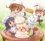 4girls :d >_< akatsuki_(kantai_collection) apron black_legwear black_sailor_collar black_skirt blue_eyes brown_eyes brown_hair cake commentary_request cup fang folded_ponytail food fruit green_apron hibiki_(kantai_collection) ikazuchi_(kantai_collection) inazuma_(kantai_collection) kantai_collection kappougi katanon_(suparutan) kneehighs long_hair long_sleeves multiple_girls neckerchief open_mouth pleated_skirt purple_eyes purple_hair red_neckwear sailor_collar school_uniform serafuku short_hair silver_hair skirt smile strawberry thighhighs v-shaped_eyebrows