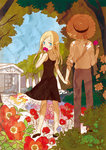 1boy 1girl black_dress blonde_hair blue_eyes covering_mouth dress field flower flower_field hat holding holding_hands long_hair looking_at_viewer okari original rose straw_hat tree tree_shade