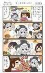 +++ ... 4girls 4koma >:) akagi_(kantai_collection) blush blush_stickers brown_hair comic commentary curry curry_rice drooling eighth_note fish food hair_between_eyes highres japanese_clothes kaga_(kantai_collection) kantai_collection kariginu long_hair long_sleeves magatama meat megahiyo multiple_girls musical_note rice ryuujou_(kantai_collection) shinkaisei-kan short_hair side_ponytail smile speech_bubble spoken_ellipsis translated twintails twitter_username v-shaped_eyebrows visor_cap white_hair wo-class_aircraft_carrier