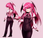 1girl arm_belt ass back_cutout bangs black_footwear blush bow bowtie breasts buttons closed_eyes collared_shirt demon_wings eyebrows_visible_through_hair food head_tilt head_wings high_heels holding juliet_sleeves koakuma long_hair long_sleeves looking_at_viewer meat multiple_views overalls pink_background plate pointy_ears puffy_sleeves red_eyes red_hair red_neckwear shimizu_pem shirt shoes simple_background small_breasts smile standing touhou white_shirt wing_collar wings