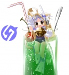 1girl ahoge animal_ears bell bell_collar brown_eyes brown_hair cat_ears cat_tail cherry collar copyright_request cup diving_mask diving_mask_on_head drinking_glass drinking_straw fangs flippers food fruit gloves green_tea ice in_container in_cup jingle_bell long_hair minigirl nananana_nanana one-piece_swimsuit school_swimsuit smile snorkel solo spoon swimsuit tail tea white_gloves