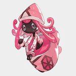 1girl aqua_eyes black_skin candy clothed_pokemon commentary_request flat_chest food full_body gen_7_pokemon grey_background hand_up hat holding jacket jpeg_artifacts legendary_pokemon lollipop long_hair long_sleeves looking_at_viewer multicolored multicolored_eyes newo_(shinra-p) no_humans no_mouth open_clothes open_jacket pink_eyes pink_hair pink_headwear pink_jacket pokemon pokemon_(creature) shiny shiny_hair shiny_skin simple_background solo sukajan tapu_lele