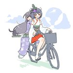 2girls :d bangs bicycle bicycle_basket black_hair blush closed_mouth cloud detached_sleeves elite_unchi eyebrows_visible_through_hair flower full_body fusou_(kantai_collection) geta ground_vehicle hair_between_eyes hair_flower hair_ornament hakama hakama_skirt hydrangea japanese_clothes kantai_collection kimono long_hair long_sleeves medium_hair multiple_girls nontraditional_miko obi open_mouth pleated_skirt purple_kimono red_eyes red_hakama red_ribbon ribbon ribbon-trimmed_sleeves ribbon_trim rudder_footwear sash simple_background sitting skirt smile sun tabi turret white_background white_kimono white_legwear wide_sleeves yamashiro_(kantai_collection)