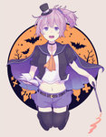 1girl :d aoba_(kantai_collection) black_legwear blue_eyes blue_skirt book cape crescent crescent_moon_pin halloween halloween_costume holding holding_book kantai_collection open_mouth pink_hair ponytail shikajima_shika short_hair skirt smile solo thighhighs
