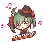 1girl :3 aqua_hair bow bowtie chibi hair_bow hat hatsune_miku lowres musical_note red_eyes simple_background solo top_hat tosura-ayato twintails vocaloid