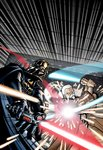 90s adam_warren armor beard cape cloak collaboration commentary cover cyborg darth_vader death_star duel energy_sword facial_hair hangar helmet hood hooded_cape hooded_cloak jedi joewight lightsaber millenium_falcon motion_blur obi-wan_kenobi official_art old promotional_art scan science_fiction serious shiny sith space_craft space_station sparks star_wars star_wars_manga sword weapon white_hair