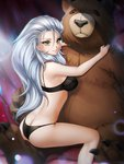 1girl ass bangs bear breasts butt_crack gigamessy grey_hair hair_pulled_back large_breasts long_hair looking_back object_hug original solo stuffed_animal stuffed_toy teddy_bear underwear white_hair yellow_eyes