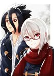 1boy 1girl azuri909 black_jacket blush collarbone commentary glasses hair_between_eyes highres jacket kurokiba_ryou long_hair looking_at_viewer nakiri_alice red_eyes red_scarf scarf shirt shokugeki_no_souma short_hair silver_hair smile white_shirt winter