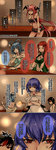 4koma 5girls absurdres alternate_costume anger_vein aoshima back backless_outfit bar bare_arms bare_shoulders black_hair blue_eyes blue_hair bracelet breasts chinese cleavage closed_eyes collarbone comic commentary_request crossed_arms demon_girl demon_wings dress finger_to_mouth green_dress hair_ornament hair_rings hair_stick head_wings heart highres hong_meiling horns jewelry kaku_seiga kijin_seija koakuma lamp large_breasts lips long_hair midriff miniskirt multicolored_hair multiple_girls navel no_panties one_eye_closed oni_horns open_mouth purple_eyes purple_hair red_eyes red_hair remilia_scarlet scarlet_devil_mansion shushing skirt smile strapless strapless_dress streaked_hair touhou translated tubetop two-tone_hair underboob very_long_hair wavy_mouth white_dress wings wrist_cuffs