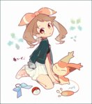 1girl :o auko between_legs border bored bow bow_removed brown_eyes brown_hair earrings full_body gen_3_pokemon hair_ribbon hand_between_legs haruka_(pokemon) jacket jacket_on_shoulders jewelry long_hair open_mouth pleated_skirt poke_ball poke_ball_(generic) pokemon pokemon_(creature) pokemon_(game) ribbon shoes signature simple_background sitting skirt skitty sneakers solo symbol-shaped_pupils text translated white_background