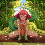 1girl absurdres bare_arms bare_legs bare_shoulders breasts cleavage commentary day flower full_body green_skin hair_flower hair_ornament hands_on_ground highres huge_filesize league_of_legends lizard_girl lizard_tail long_hair looking_at_viewer lovesexieie monster_girl multicolored_hair navel neeko_(league_of_legends) off_shoulder outdoors slit_pupils smile solo strap_slip tail tree yellow_eyes