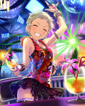 1girl ^_^ artist_request blonde_hair bracelet closed_eyes disco_ball drink idolmaster idolmaster_cinderella_girls jewelry official_art pixie_cut rave_party ring senzaki_ema short_hair skirt smile solo thumb_ring tropical_drink very_short_hair