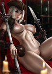 1girl absurdres bloodborne blue_eyes blurry_foreground breasts candle chair dandon_fuga detached_sleeves hat highres knife lady_maria_of_the_astral_clocktower large_breasts lips looking_at_viewer nipples nude paid_reward patreon_reward pussy silver_hair sitting solo the_old_hunters toned weapon