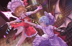 2girls arm_up ascot bangs bat_wings blonde_hair blue_hair blush bow checkered checkered_floor claw_pose commentary_request crystal dress duel eyebrows_visible_through_hair fang feet_out_of_frame fingernails flandre_scarlet flying from_above hair_between_eyes hat hat_bow highres holding holding_spear holding_weapon indoors knee_up laevatein laevatein_(tail) long_hair looking_at_another miniskirt mob_cap multiple_girls nail_polish one_eye_closed one_side_up open_mouth outstretched_arms panties pantyshot petticoat pink_dress pink_headwear pointy_ears polearm profile red_bow red_eyes red_footwear red_nails red_skirt red_vest remilia_scarlet roke_(taikodon) scarlet_devil_mansion sharp_fingernails shirt shoes short_sleeves siblings sidelocks sisters skin_fang skirt skirt_set socks spear spear_the_gungnir striped striped_panties tail touhou underwear v-shaped_eyebrows vest weapon white_headwear white_legwear white_shirt wings yellow_neckwear