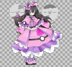 1girl alternate_costume bangs black_hair bonnet bow braid checkered checkered_background closed_mouth commentary dream_ball dream_ball_(pokemon) dress flat_chest frilled_dress frills full_body gen_7_pokemon grey_background grey_eyes hair_between_eyes hair_bow hair_ornament happy jpeg_artifacts long_hair long_sleeves looking_at_viewer namako_plum official_style pantyhose pink_bow pink_dress pink_eyes pink_footwear pink_headwear plum_(plum_no_bouken_note) plum_no_bouken_note poke_ball poke_ball_symbol pokemon pokemon_(creature) pyukumuku shoes simple_background smile solo_focus standing tied_hair twin_braids two-tone_background virtual_youtuber white_legwear