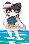 1girl aioi_u alternate_costume aori_(splatoon) black_hair closed_mouth domino_mask earrings food food_on_head fruit gradient_hair hair_rings highres holding holding_food holding_fruit jewelry mask mole mole_under_eye multicolored_hair object_on_head pink_hair pointy_ears see-through smile solo splatoon_(series) splatoon_1 suction_cups swimsuit tentacle_hair two-tone_hair wading water watermelon yellow_eyes