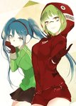 2girls :d bangs black_skirt blue_hair blush breasts brown_eyes closed_mouth cowboy_shot facepaint gloves green_hair green_jacket gumi hand_on_own_chin hatsune_miku headphones hood hood_up hoodie index_finger_raised jacket leaning_forward long_sleeves looking_at_viewer lpip matryoshka_(vocaloid) medium_breasts miniskirt multiple_girls open_mouth pleated_skirt red_gloves red_shorts ringed_eyes short_hair short_shorts shorts skirt smile standing thighs track_jacket triangle twintails two-tone_background vocaloid zipper