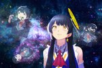 1girl :d black_hair clover earrings elbow_gloves gas_mask gloves hair_ornament hairclip install! jewelry long_hair nijisanji open_mouth school_uniform smile solo space space_cat_(meme) tsukino_mito virtual_youtuber weathernews weatheroid yellow_eyes yue_(tada_no_saboten)