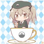 1girl argyle argyle_background bandages bangs beret black_headwear black_jacket black_neckwear black_ribbon blue_background blush boko_(girls_und_panzer) brown_eyes chibi commentary_request cup dress_shirt emblem eyebrows_visible_through_hair girls_und_panzer hair_ribbon hat holding holding_stuffed_animal jacket japanese_tankery_league_(emblem) light_brown_hair long_hair long_sleeves military military_hat military_uniform mitarashi_neko_(aamr7853) necktie one_side_up oversized_object partial_commentary ribbon selection_university_military_uniform shimada_arisu shirt side_ponytail solo stuffed_animal stuffed_toy teacup teddy_bear uniform white_shirt