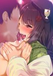 1boy 1girl animal_ears bad_id bad_twitter_id bangs black_hair blush braid breast_grab breasts breasts_outside breath dog_ears dog_girl dress faceless faceless_male fang fingernails flower fumihiko_(pixiv2658856) grabbing green_dress hair_flower hair_ornament hat hetero highres inui_toko large_breasts licking long_hair long_sleeves nijisanji nipple_licking nipples one_eye_closed open_clothes open_mouth red_eyes saliva saliva_trail tongue tongue_out twintails upper_body upper_teeth virtual_youtuber white_cardigan