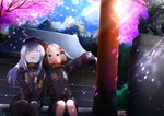 2girls :d abigail_williams_(fate/grand_order) abigail_williams_(fate/grand_order)_(cosplay) bags_under_eyes bangs black_bow black_headwear black_jacket blonde_hair blue_eyes blue_sky blush bow cabbie_hat cloud cloudy_sky commentary_request cosplay day eyebrows_visible_through_hair fate/grand_order fate_(series) flower hair_bow hair_bun hat heroic_spirit_traveling_outfit highres jacket kuro_yanagi lavinia_whateley_(fate/grand_order) long_hair long_sleeves matching_outfit motion_blur multiple_girls object_hug open_mouth orange_bow outdoors outstretched_arm parted_bangs petals pink_flower purple_eyes shrine silver_hair sitting sitting_on_stairs sky sleeves_past_fingers sleeves_past_wrists smile spring_(season) stairs star statue stone_stairs stuffed_animal stuffed_toy teddy_bear torii tree wide-eyed