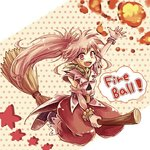 1girl arche_klein belt broom broom_riding detached_sleeves fireball long_hair long_sleeves namuko open_mouth ponytail red_eyes red_hair skirt smile solo star tales_of_(series) tales_of_phantasia very_long_hair wide_ponytail