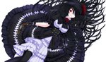 1girl bizure: black_gloves black_hair black_legwear date_a_live double-breasted dress eyepatch flower frilled_dress frills from_above gloves gothic_lolita gun hair_flower hair_ornament holding holding_gun holding_weapon lolita_fashion long_hair looking_at_viewer lying on_back puffy_short_sleeves puffy_sleeves reaching_out red_eyes red_flower red_rose rose short_sleeves simple_background smile solo tokisaki_kurumi very_long_hair weapon white_background