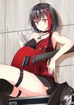 1girl armpits bang_dream! bangs black_choker black_corset black_hair black_jacket black_shorts blush cellphone choker commentary_request electric_guitar eyebrows_visible_through_hair guitar highres holding holding_phone instrument iphone jacket jacket_removed jewelry lips looking_at_phone mitake_ran multicolored_hair necklace phone plectrum red_eyes red_hair red_tank_top short_hair shorts single_bare_shoulder single_thighhigh sitting smartphone smile solo streaked_hair tachiuki_(756412) tattoo thigh_strap thighhighs torn_clothes