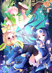 3girls :d animal_ears aqua_hair black_hair black_legwear blonde_hair boots espeon gyaza highres hug leafeon long_hair minigirl multiple_girls open_mouth personification pokemon pokemon_(game) red_eyes short_hair size_difference smile tail thighhighs umbreon upside-down yellow_eyes