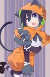 1girl aki_poi animal_ears animal_hood bangs black_gloves black_legwear black_shoes capelet cat_ears cat_hood elbow_gloves eyebrows_visible_through_hair fang gloves hair_between_eyes hood kneehighs looking_at_viewer mary_janes nekogasaki_natsuho open_mouth orange_shorts paws puffy_shorts shoes shorts sidelocks solo striped striped_legwear urami_koi_koi_urami_koi. white_legwear